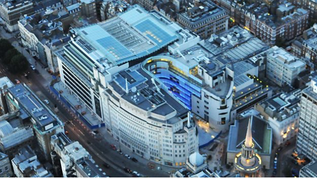 aerial view of Broadcasting House