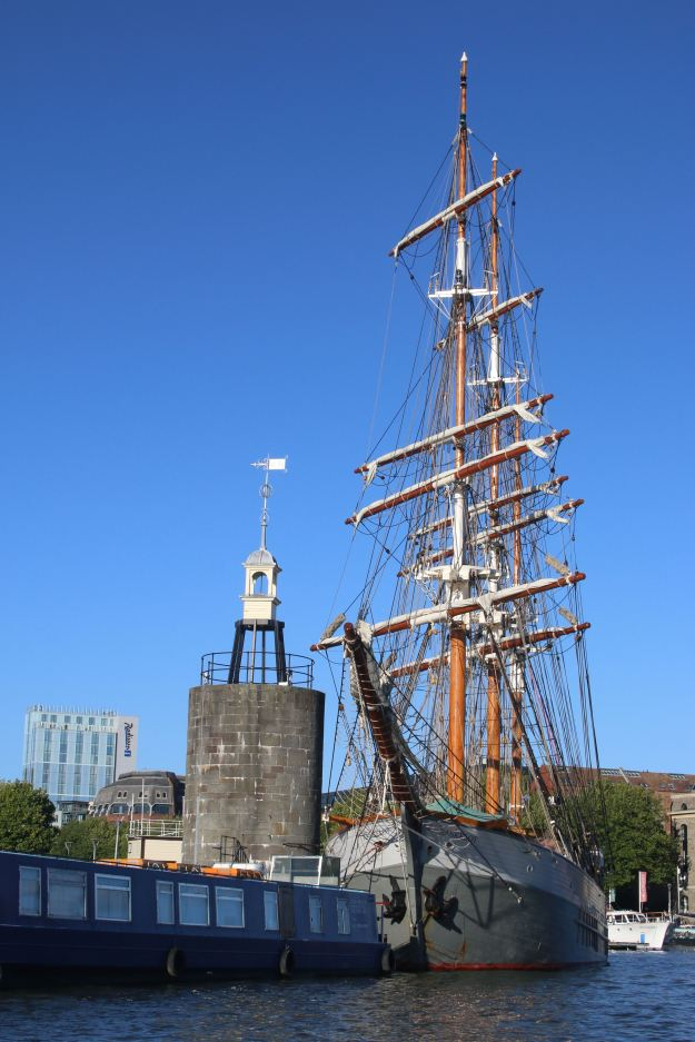 View of sailing boat on Bristol quayside