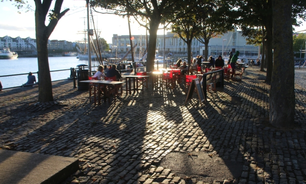 View of tables on Bristol quayside