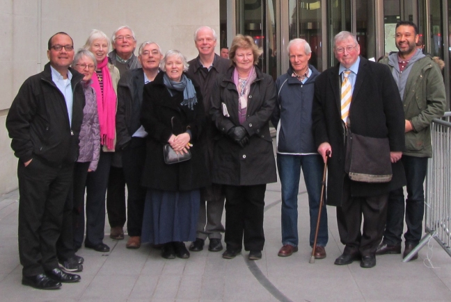 A group of Catenians in the courtyard of the BBC building